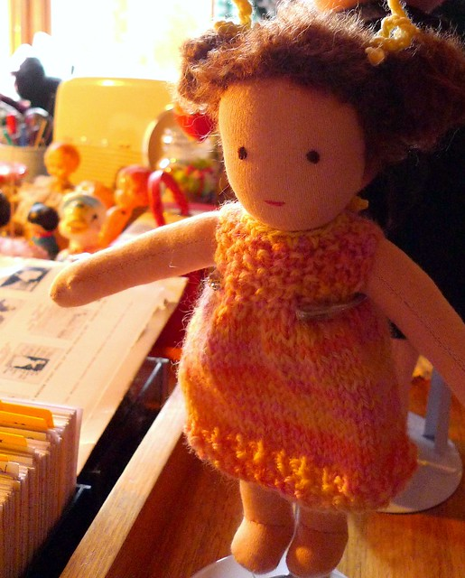 Emma's doll in the sunny light of my desk lamp in the early hours just after dawn