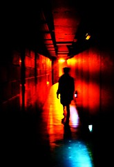 shining (Min_Max) Tags: blue red girl silhouette standing dark person scary chica shine gloomy dream corridor tunnel spooky sombre dreams figure dreamy fille shining sueo ragazza buio oscuro traum   effrayant demiedo pauroso sognante