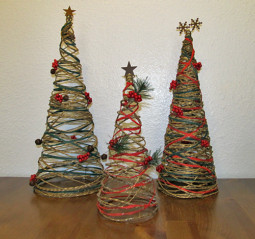 three christmas trees twine wrapped