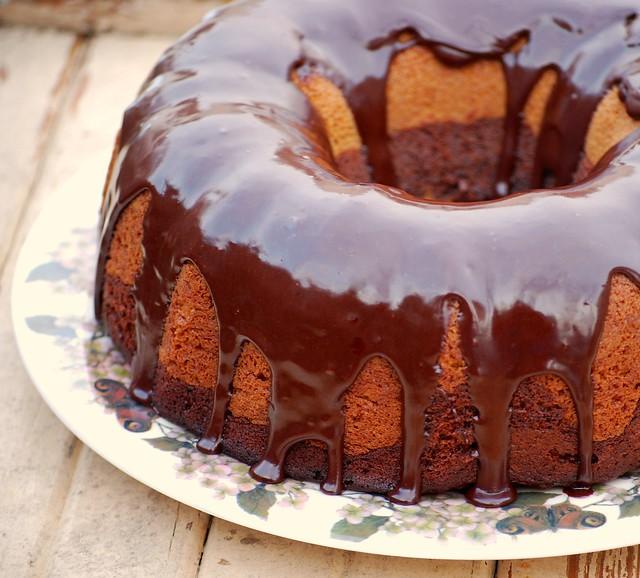Pistachio Cake with Espresso Glaze