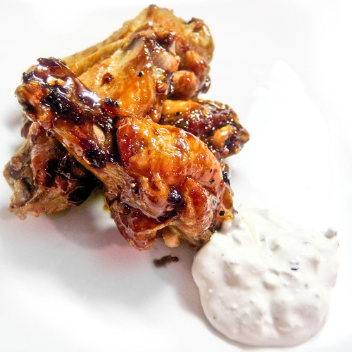 Spicy-Sweet Adobo Wings with Blue Cheese Dip