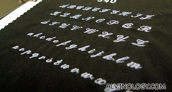 Different font types to choose from for the embroidery