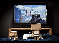 013 (scnelsonfoto) Tags: 2 3 game television modern project scott fun toy 50mm photo tv video bed amazon nikon flat little iso400 room sony small watching nelson mini games screen daily cardboard ii blanket figure hd 365 f56 nikkor f18 figurine controller playstation 32 inches violent vizio warfare ps3 danbo amazoncojp mw2 revoltech d700 danboard