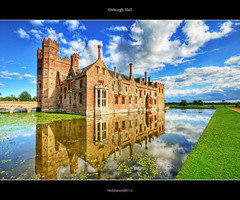 Oxburgh Hall Norfolk UK (Mr Instructor) Tags: uk heritage history water reflections hall nikon near flags east national adobe moat hdr anglia swaffham