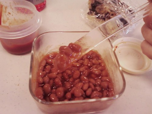 Beans and plastic knife