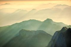 Misty sunrise over the Hoher Kasten (Thierry Hennet) Tags: morning panorama sunlight mist mountain alps nature beauty horizontal sunrise landscape gold dawn golden switzerland glow suisse outdoor sony peaceful tranquility serenity hdr appenzell saentis mountainrange warmtones appenzellerland 3xp photomatix beautyinnature a900 sony70300g gettyimagessalq1