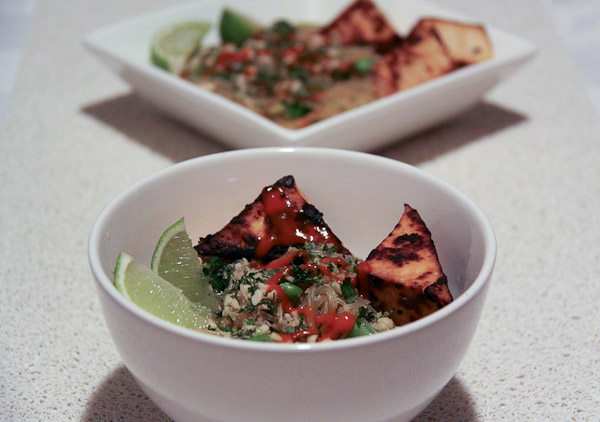 Vietnamese rice noodle salad with grilled tofu