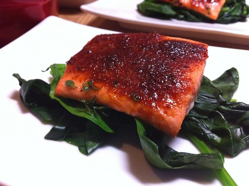 Smoked Paprika Salmon on Wilted Spinach