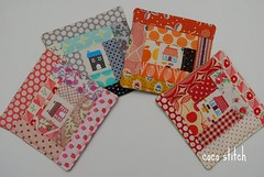 fabric coaster (coco stitch) Tags: house logcabin fabric patchwork coaster
