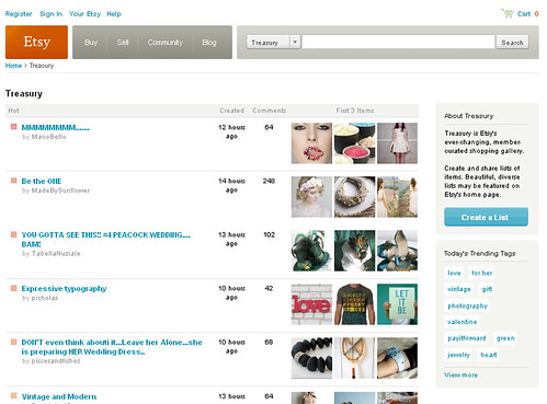 Etsy Treasury Tracker