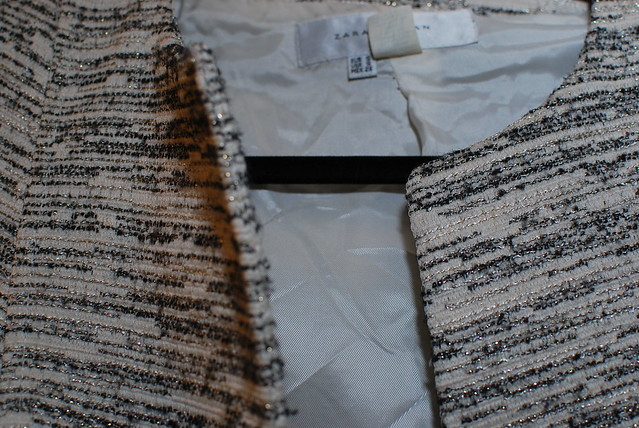 close up of zara jacket from clothing swap