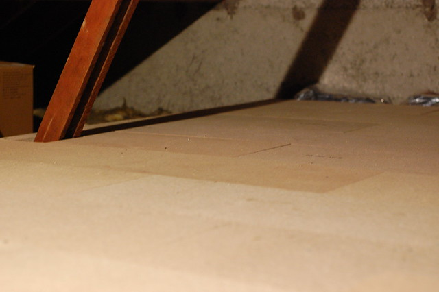 Loft space with boarded floor