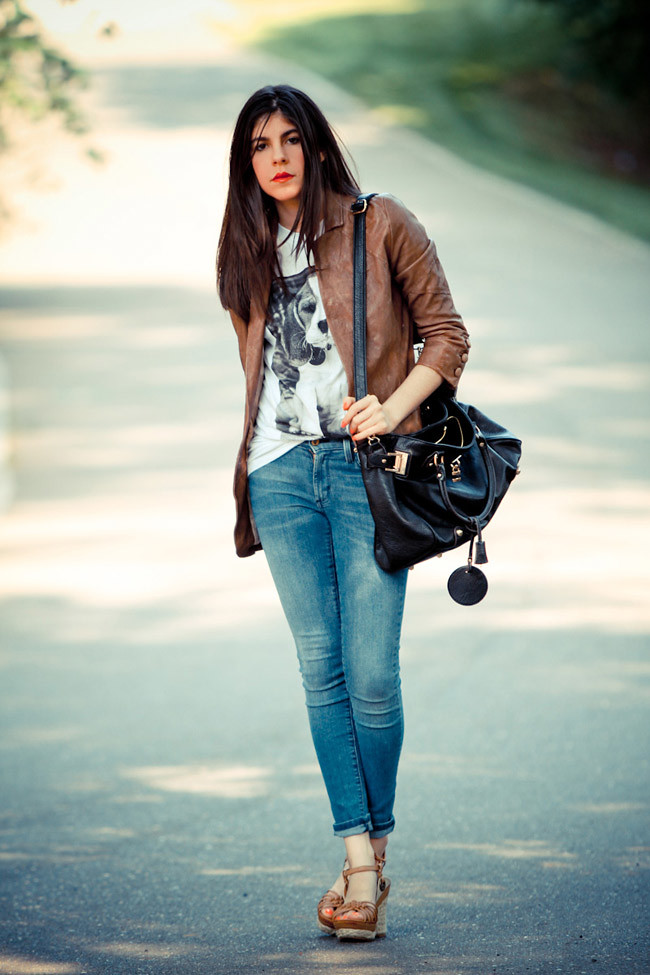 Brashy Couture T-Shirt, Burning Torch Brown Leather Jacket, James Jean Twiggy Karma Skinny Jeans, Socialite bag, Wanted espadrille wedges