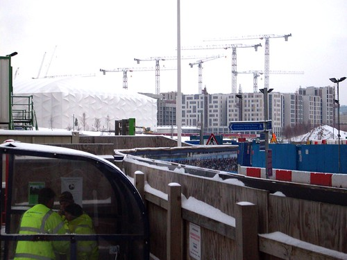 Snowy View towards the Basketball Arena & Athletes Village