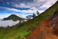 Ijen National Park: The beauty of this place sinks into my bones. (tropicaLiving - Jessy Eykendorp) Tags: park morning blue plants green nature fog clouds canon indonesia landscape photography volcano daylight outdoor path diagonal mount national lee filters 1022mm slope eastjava ijen eos50d