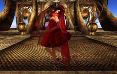 ezura red dress short with veil (dagmar haiku) Tags: life male fashion female gothic goth style sl secondlife second gothy ezura
