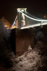 Clifton Suspension Bridge (t1ll) Tags: uk longexposure bridge winter snow cold ice night bristol frost clifton cliftonsuspensionbridge brunel canon500d sodiumvapourlamp canonefs1755mm