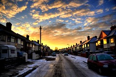 Cold and frosty colours (Shertila Tony) Tags: morning houses england sky urban cold colour ice weather clouds sunrise golden living europe day estate cloudy britain freezing hdr wirral merseyside bromborough yahooweather colorphotoaward platinumheartaward