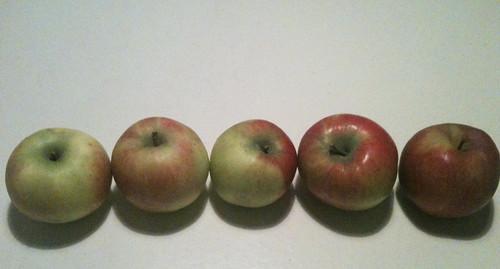 Ik gok op de twee rechtse appels