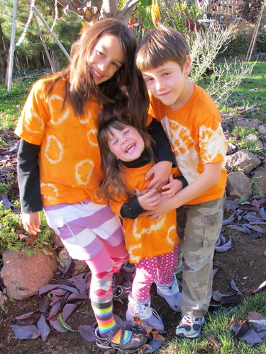 My three maniacs decked out in orange