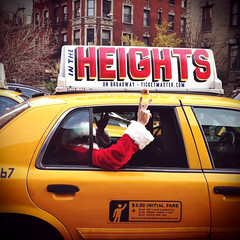 """Santa In The Heights"" (antonkawasaki) Tags: santa nyc newyorkcity portrait sunglasses sign peace candid cab taxi streetphotography squareformat 500x500 iphone4 iphoneography antonkawasaki"