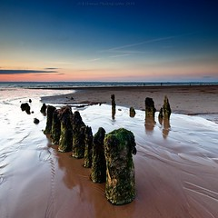 Summer Memories (Scott Howse) Tags: wood uk sunset england sky water coast sand dusk somerset lee posts filters graduated northsomerset groynes blueanchorbay 09h