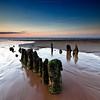 Summer Memories (Scott Howse) Tags: wood uk sunset england sky water coast sand dusk somerset lee posts filters graduated northsomerset groynes blueanchorbay 09h