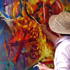 artist Jinsheng Song at the LowerTown Art & Music Fest (by: Iris Shreve Garrott)
