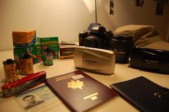 tudo film (Alex Lutrot) Tags: voyage travel travelling notebook army gold nikon kodak superia swiss id knife gear olympus f80 passport mjuii sensia visas bw400cn ultramax whatsinmycamerabag