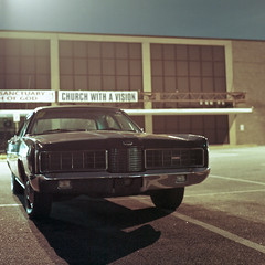 vision (patrickjoust) Tags: auto county street boss usa color 120 6x6 tlr film church car night analog america dark square lens us reflex nc md focus automobile long exposure mechanical natural god suburban kodak united parking release tripod religion north lot patrick twin maryland cable baltimore mat v 124g vehicle epson after medium format states manual 500 80 joust portra essex yashica estados 160 80mm f35 c41 unidos sancuary yashinon v500 autaut patrickjoust churchwithavision