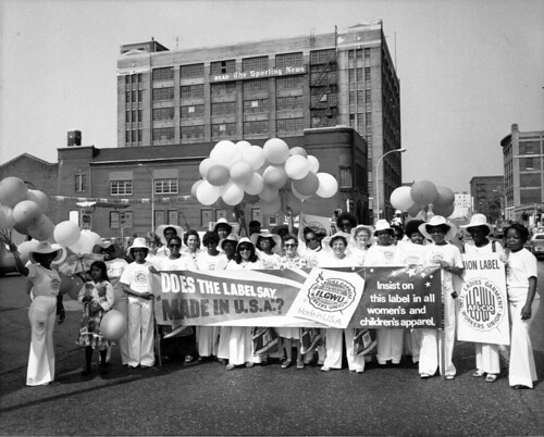ILGWU Union Label staff prepare to march by Kheel Center, Cornell University, on Flickr