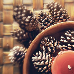 Like a flame... (Fabiana Gauto Photography) Tags: christmas light red brown love luz navidad rojo madera candle flame pinos vela marron