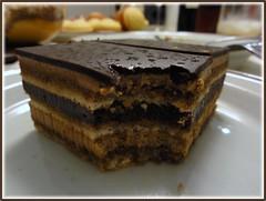 Opera Cake,  So Very Good! (Mega-Magpie) Tags: camera coffee cake dinner opera yum chocolate sony cybershot sugar glaze espresso syrup brandy christams cognac buttercream hx5 dschx5v hx5v