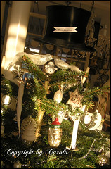Some favorite ornaments (Boxwoodcottage) Tags: santa christmas moon white black tree glass birds vintage silver real star snowman candles bell head watch cotton ornaments tophat half fir icy satin pinecones 2010 spun soldered pcket boxwoodcottage