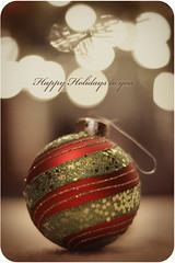 Happy Holidays to you (jbachie) Tags: christmas holiday blur vintage dof bokeh ornament hook sequins greeting selectivecolor