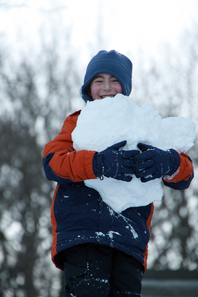 Jacob with an armful of snow