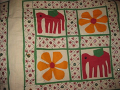 APPLIQUE AND EMBROIDERED BEDSPREAD (RubyGoes) Tags: new red india elephant flower green yellow shop shopping bed stitch delhi internet running ups cover online bedspread in khadi freeshipping counterpane khaddar jaiho exoticindiacom kapilgoel nitinkumar vipinkumar exoticindiaartdotcom