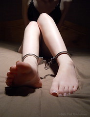 Restrained (Artistic Feet) Tags: cute sexy feet metal fetish asian foot model pretty hand legs skin artistic small gothic arches bondage pale barefoot heels soles restricted cuffs handcuffs ankles restraints restrained cuffed