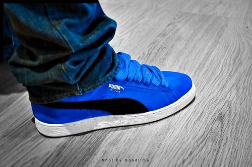Puma Suede Blue On Feet