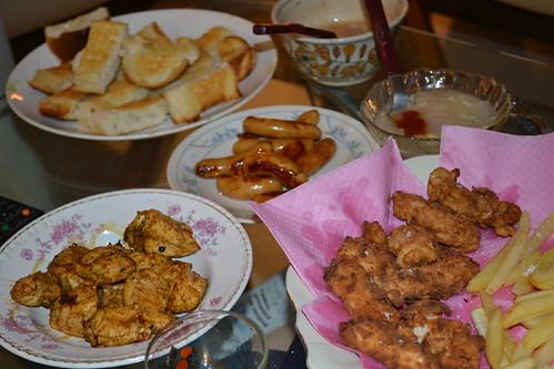 dinner spread with Fried Chicken, Cinnamon Rolls & Fudge Ice Cream