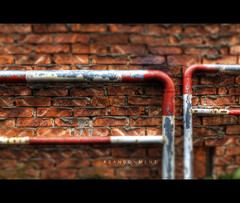 126/365 Abandonment (brandonhuang) Tags: red blur color brick texture colors metal wall photoshop high focus rust paint dynamic vibrant bricks shift textures faux tilt range hdr vibrance brandonhuang