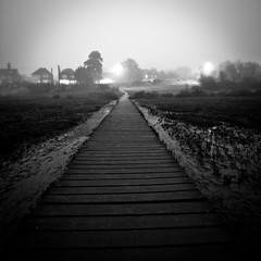 (ant_43) Tags: light sea bw white mist black west beach fog canon dark haze dusk sigma boardwalk 1020 essex bnw mersea fadinglight 450d ant43