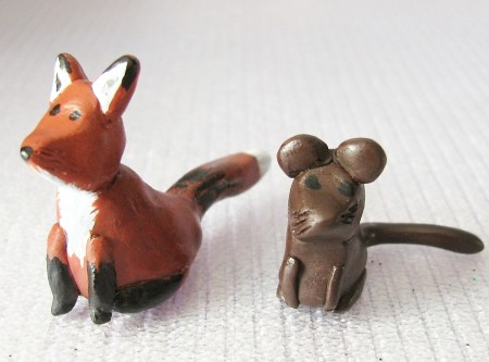 Clay fox and mouse