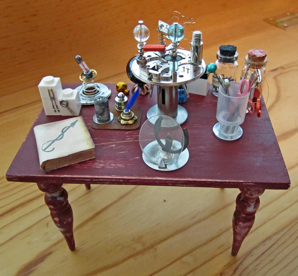 Miniature Wizard of Inventions Enchanted Worktable~1:12th Scale