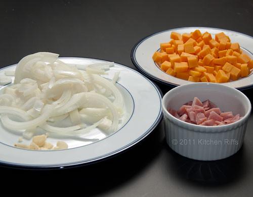 diced ham, onion, cheddar cheese
