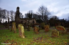 Accomodation (Foxy Robyn) Tags: old trees sky cold broken wet cemetery graveyard grass leaves project dark outside photography grey one leaf ruins stones lewis spooky week 1800 robyn gravestones dull muddy soggy accomodation damp gruble nikond90 robynlewisphotography