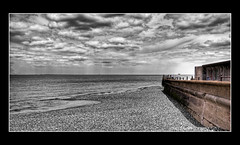 Jetty.. (Steve's Photography :-)) Tags: uk sea sky beach water clouds coast blackwhite kent nikon jetty shingle pebbles d200 selectivecolouring photomatix sheerness cs5 colourpopping 3shothdr steveclancy