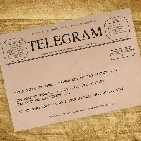 vintage telegram save the date