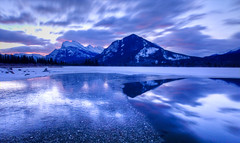 Sunrise at Vermillion Lakes (DerrellW) Tags: mountain lake snow cold reflection ice sunrise mount banff vermillion rundle