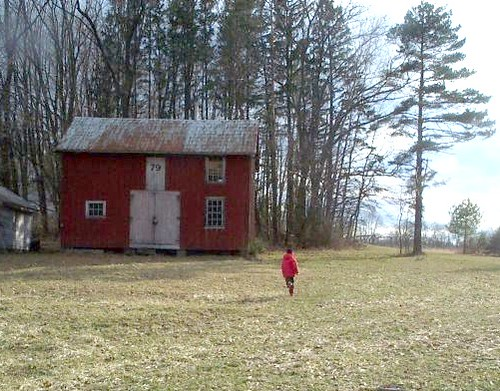 running to the original barn